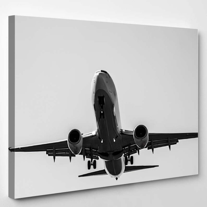 Airplane On Landing Approach - Airplane Airport Canvas Art Print