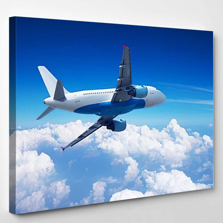 Airplane Over Clouds - Airplane Airport Canvas Art Print