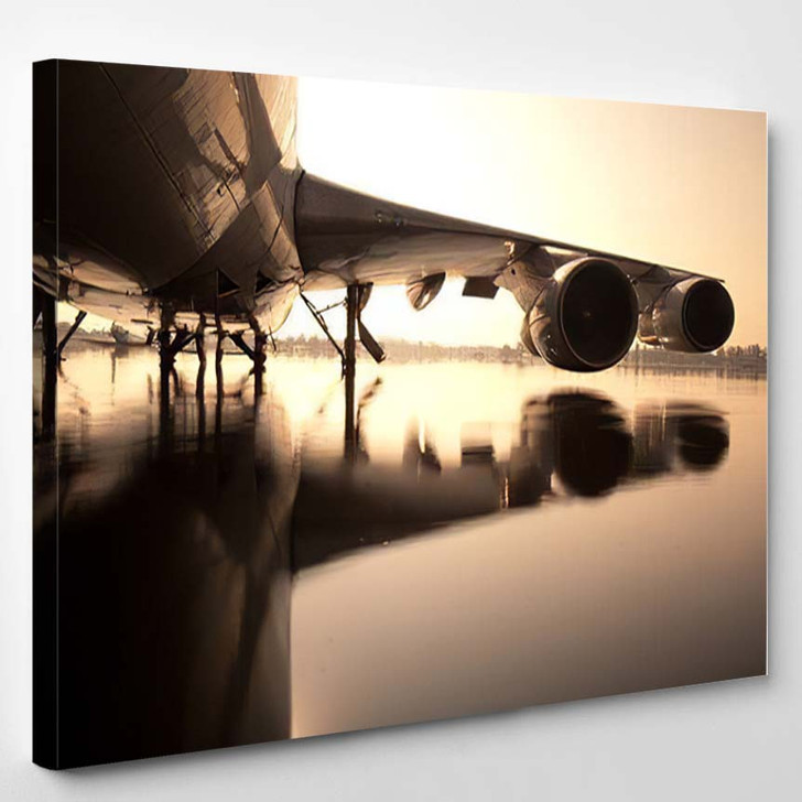 Airplane Over Water Thailand Flooding Donmaung 1 - Airplane Airport Canvas Art Print