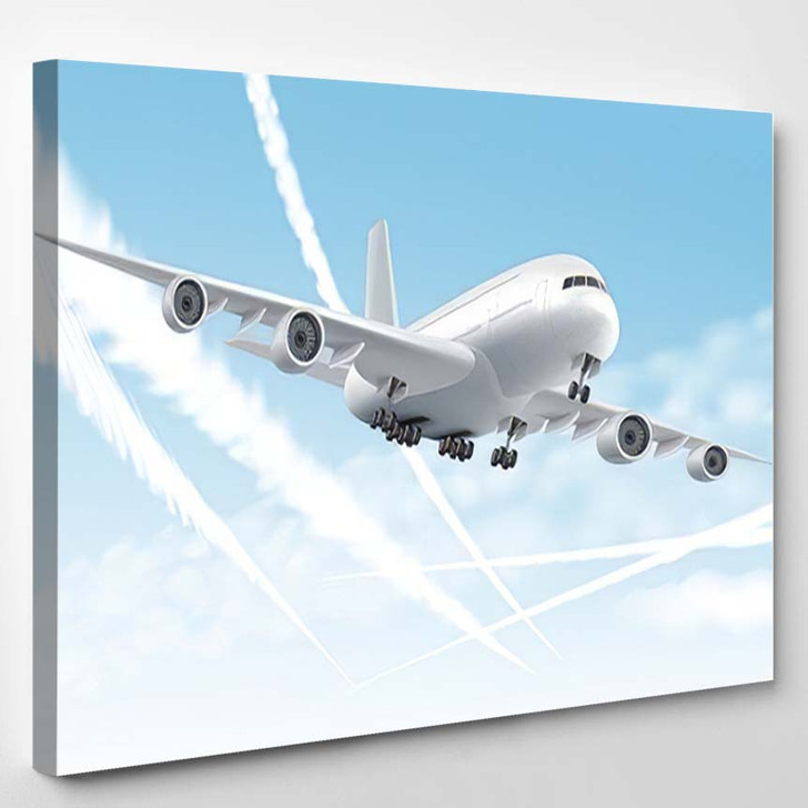 Airplane Plane Aircraft Aeroplane Airline Flying - Airplane Airport Canvas Art Print