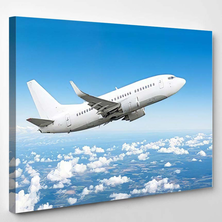 Airplane Sky Above Clouds Flight Journey - Airplane Airport Canvas Art Print