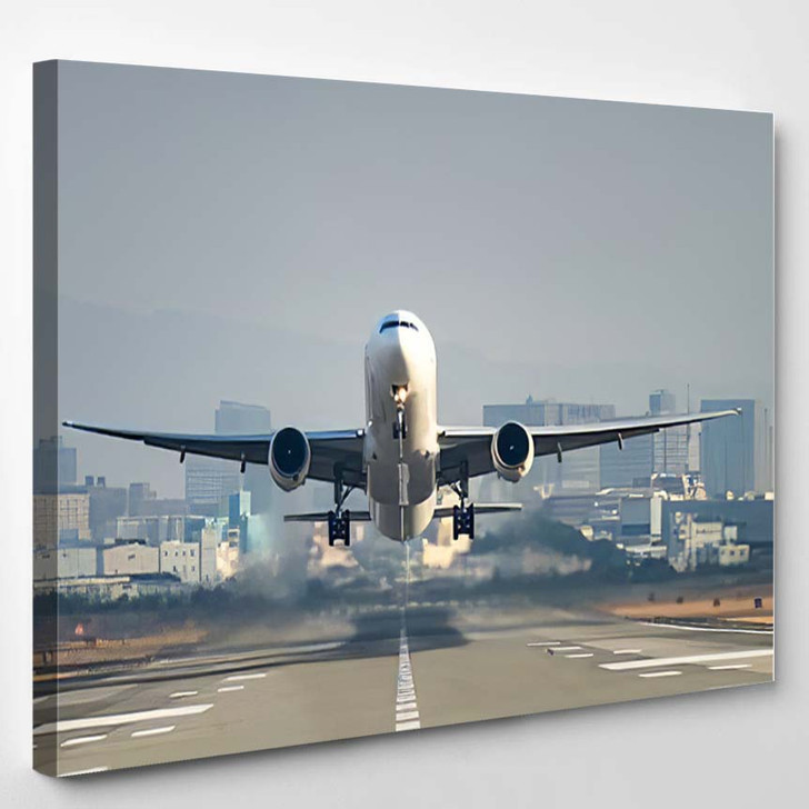 Airplane Taking Off Airport 1 1 - Airplane Airport Canvas Art Print