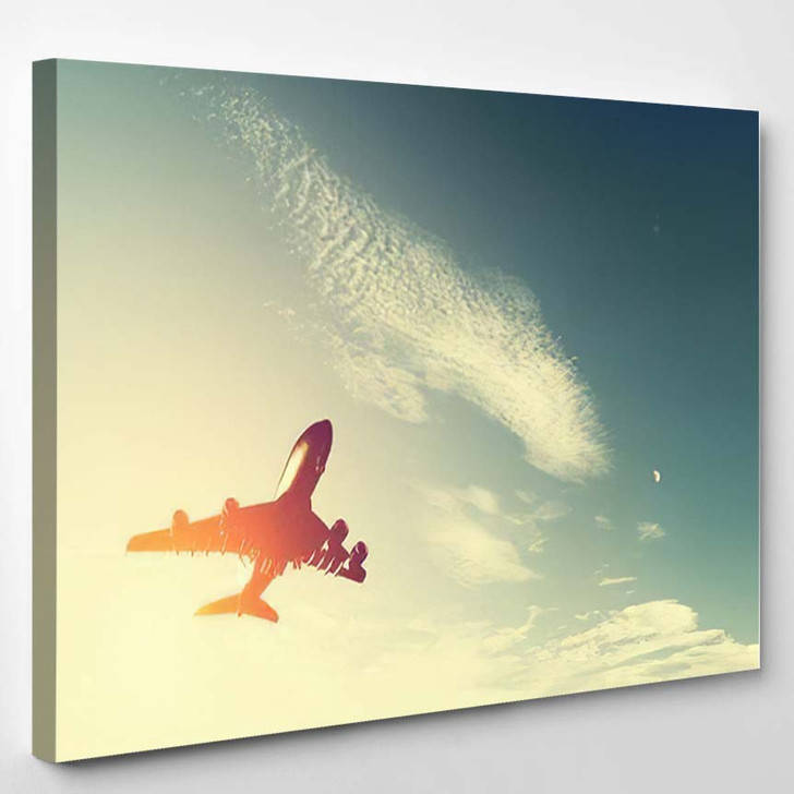 Airplane Taking Off Sunset Silhouette Big - Airplane Airport Canvas Art Print
