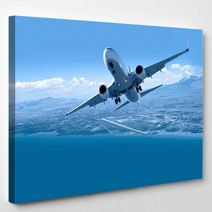 Airplane Taking Off Travel By Air 1 - Airplane Airport Canvas Art Print