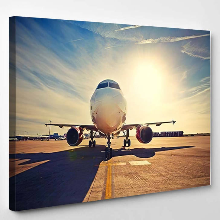 Airplane Taxiing Take Off Sunrise Retro 1 - Airplane Airport Canvas Art Print