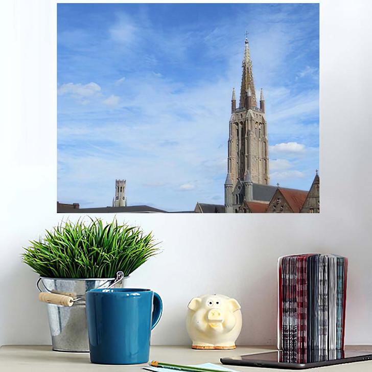 1155 Metres High Brick Tower Church - Landmarks and Monuments Poster Art