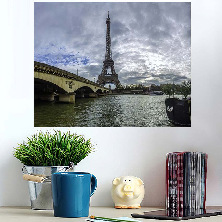18 Mpx Panoramic View Eiffel Tower - Landmarks and Monuments Poster Art