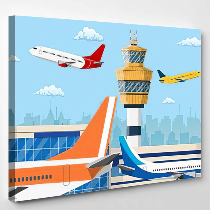 Airport Control Tower Flying Civil Airplane - Airplane Airport Canvas Art Print