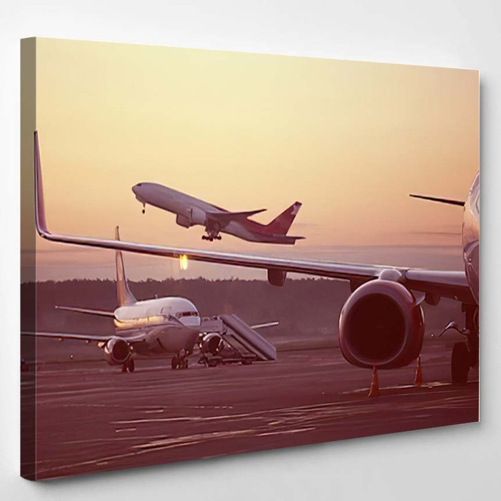 Airport Plane On Takeoff Landscape 1 - Airplane Airport Canvas Art Print