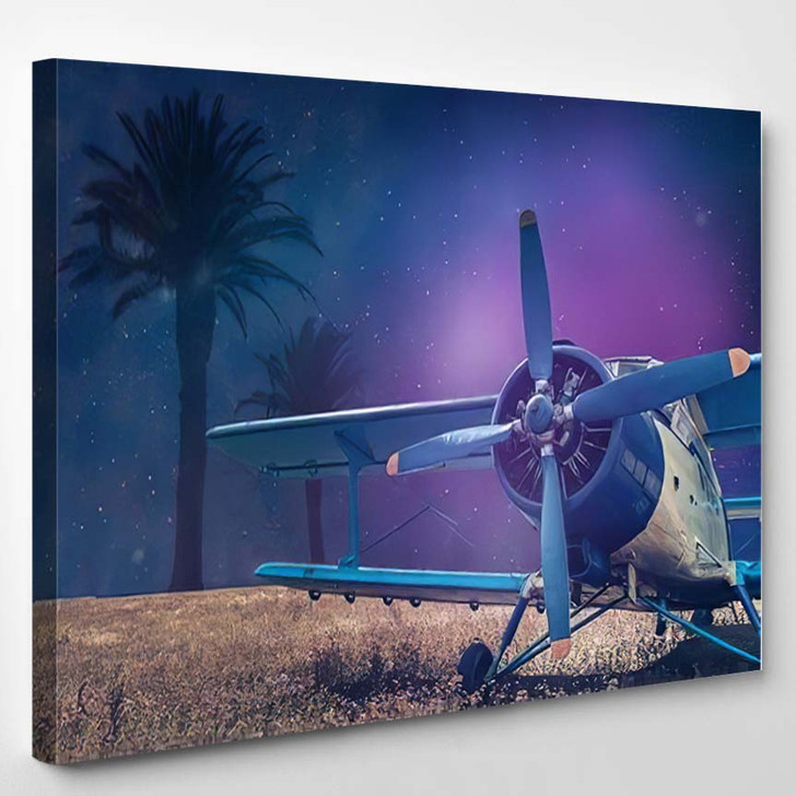Beautiful Abstract Surreal Blue Yellow Airplane - Airplane Airport Canvas Art Print