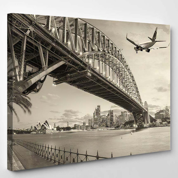 Black White View Airplane Over Sydney 1 - Airplane Airport Canvas Art Print