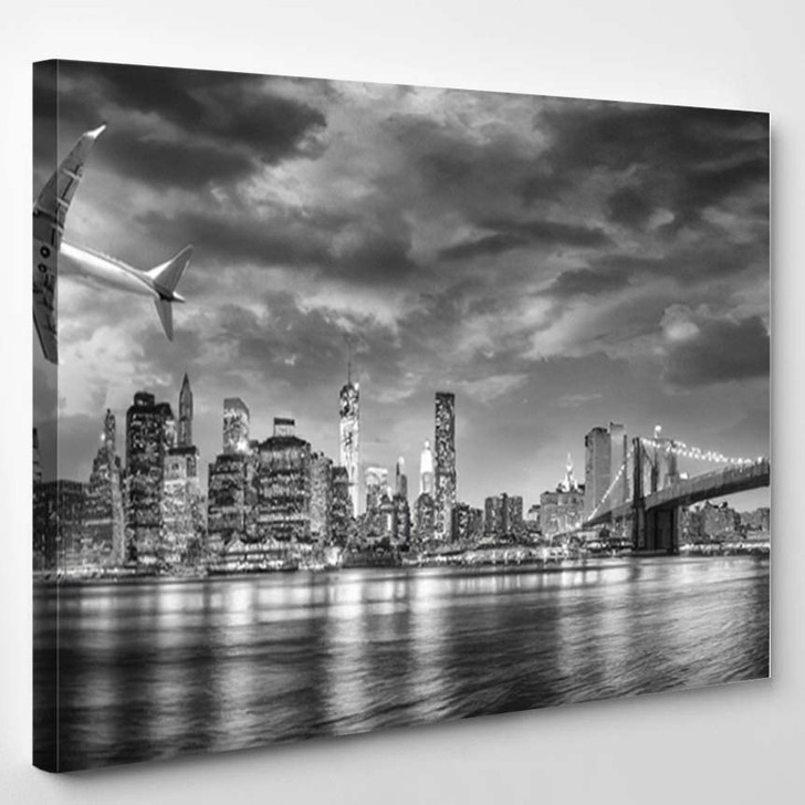 Black White View Airplane Overflying New - Airplane Airport Canvas Art Print