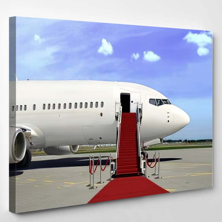 Boarding Commercial Airplane Red Carpet Presentation 1 - Airplane Airport Canvas Art Print