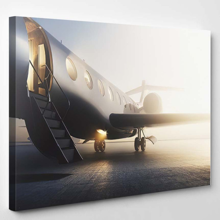 Business Private Jet Airplane Parked Terminal - Airplane Airport Canvas Art Print