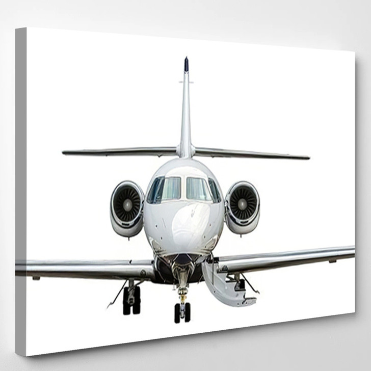 Close High Detailed Front View Modern - Airplane Airport Canvas Art Print