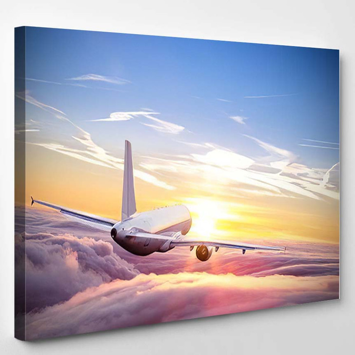 Commercial Airplane Flying Above Clouds Dramatic 1 - Airplane Airport Canvas Art Print