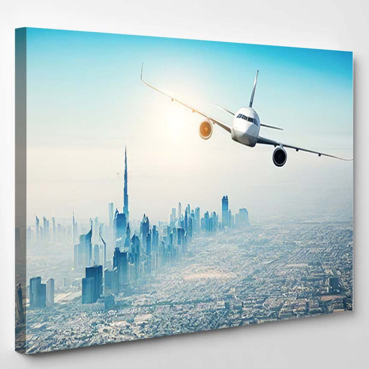 Commercial Airplane Flying Over Modern City 1 - Airplane Airport Canvas Art Print