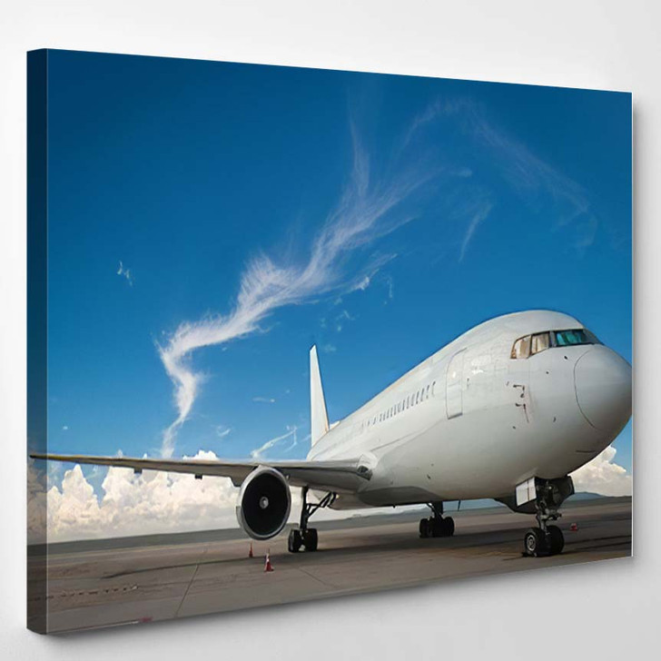 Commercial Airplane 3 - Airplane Airport Canvas Art Print