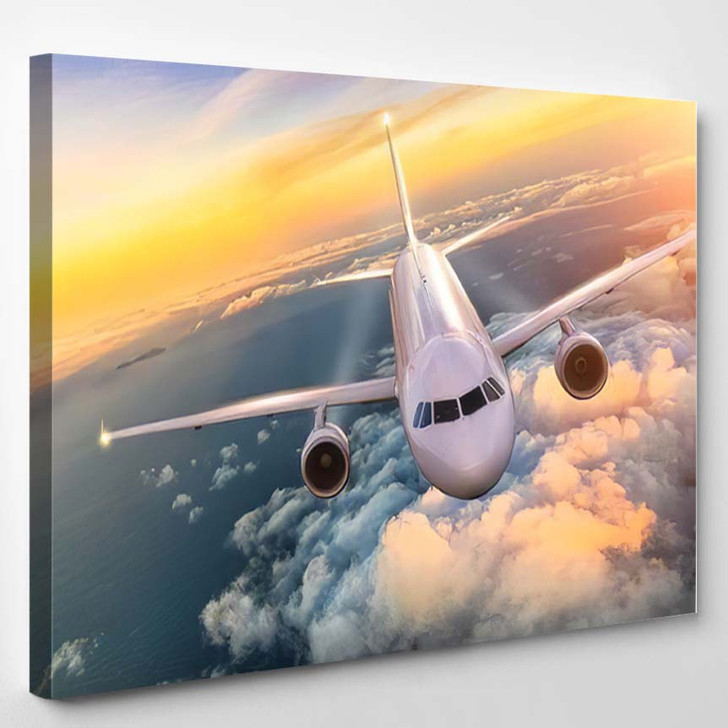 Commercial Airplane Jetliner Flying Above Clouds - Airplane Airport Canvas Art Print
