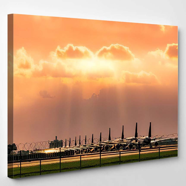 Commercial Airplane Parked Parking Area Airport - Airplane Airport Canvas Art Print