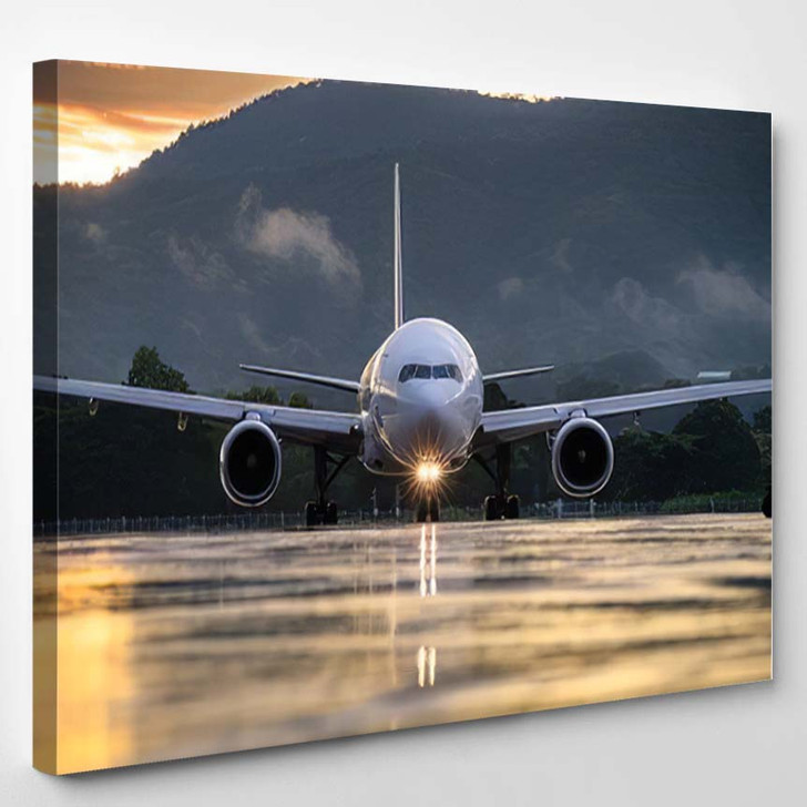 Commercial Airplane Standing On Airport Taxiway - Airplane Airport Canvas Art Print