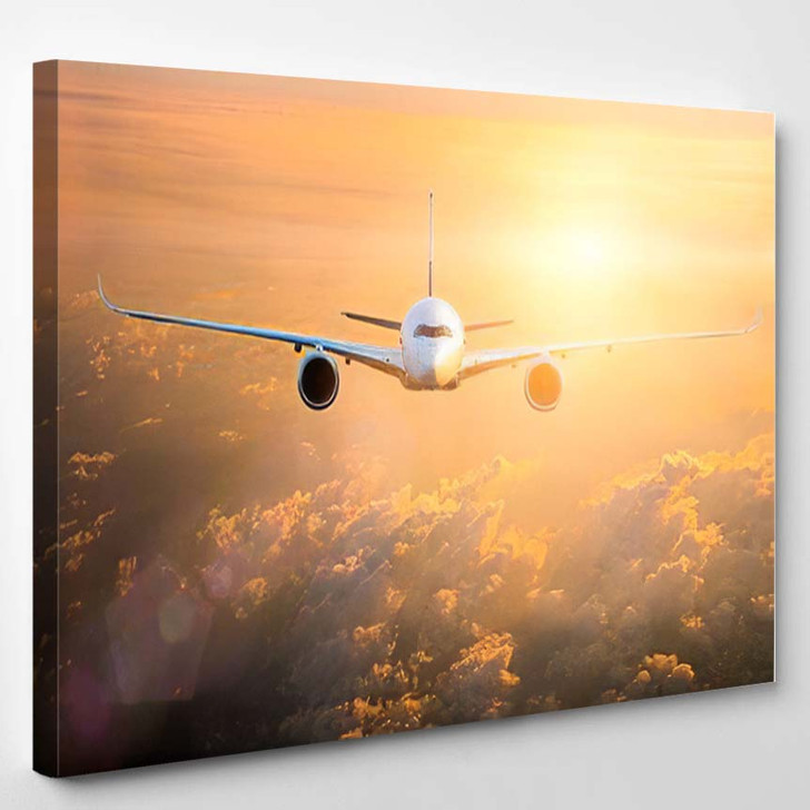 Commercial Passenger Aircraft Flying Above Dramatic - Airplane Airport Canvas Art Print