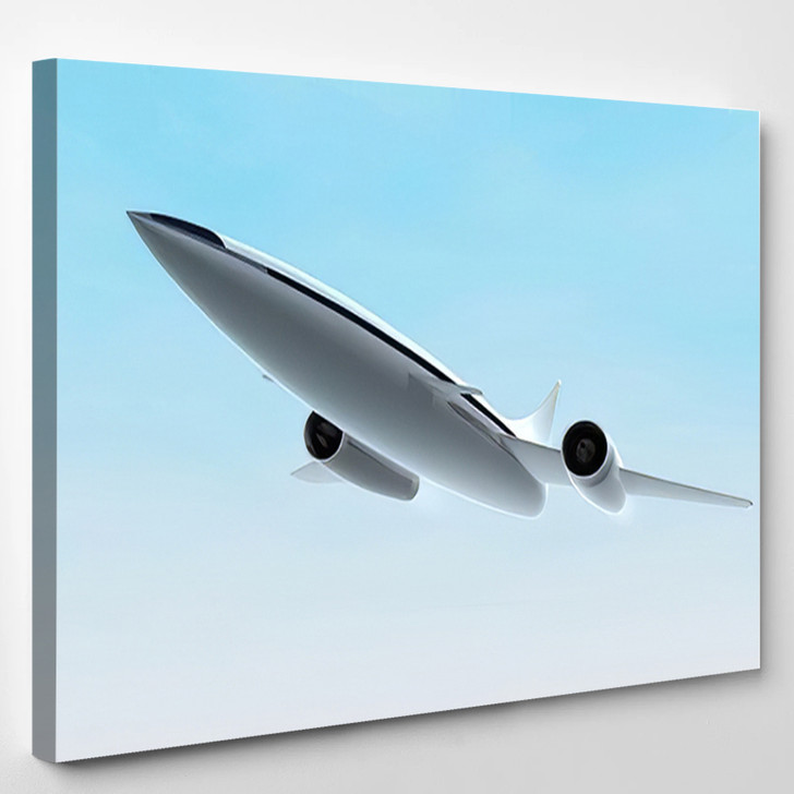 Concept Supersonic Jet Aircraft 3D Rendering - Airplane Airport Canvas Art Print