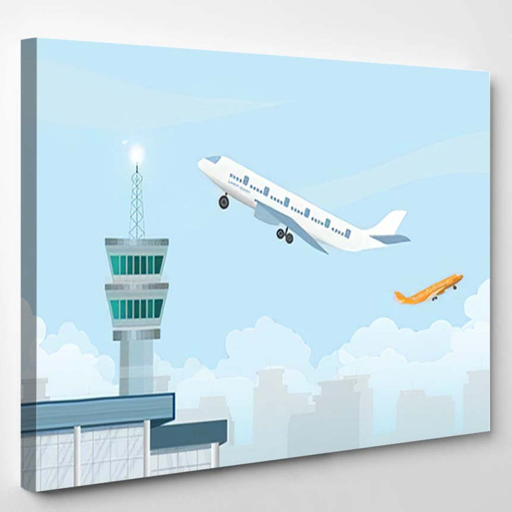 Control Tower Airplane Taking Off Airport - Airplane Airport Canvas Art Print