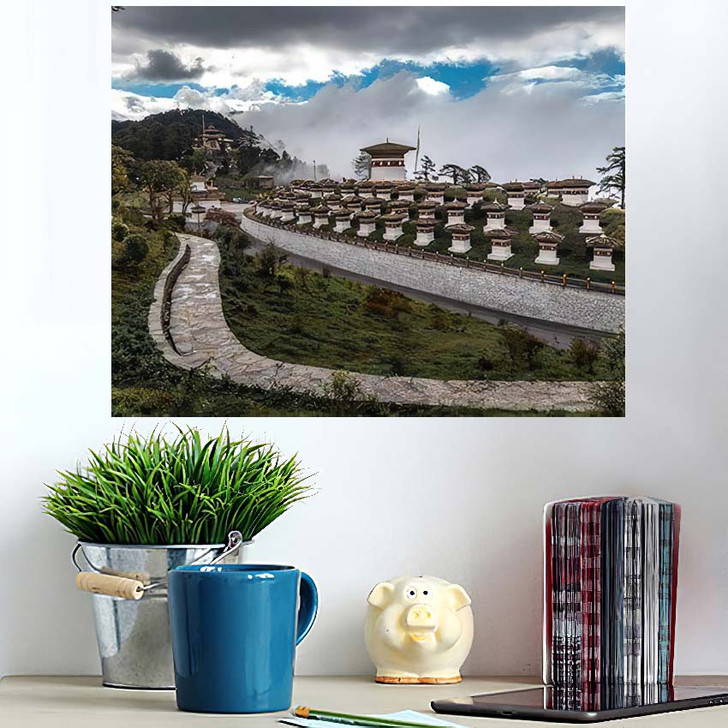 108 Memorial Chortens Dochula Sitting Glory - Landmarks and Monuments Poster Art