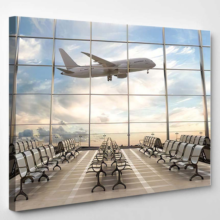 Empty Airport Terminal Lounge Airplane On 1 - Airplane Airport Canvas Art Print