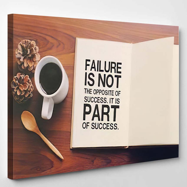 Inspirational Motivating Quote On Notebook Coffee - Quotes Canvas Art Print