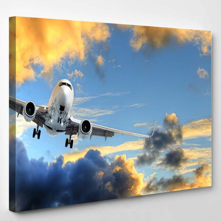Flying Away Panorama Airplane Taking Off - Airplane Airport Canvas Art Print