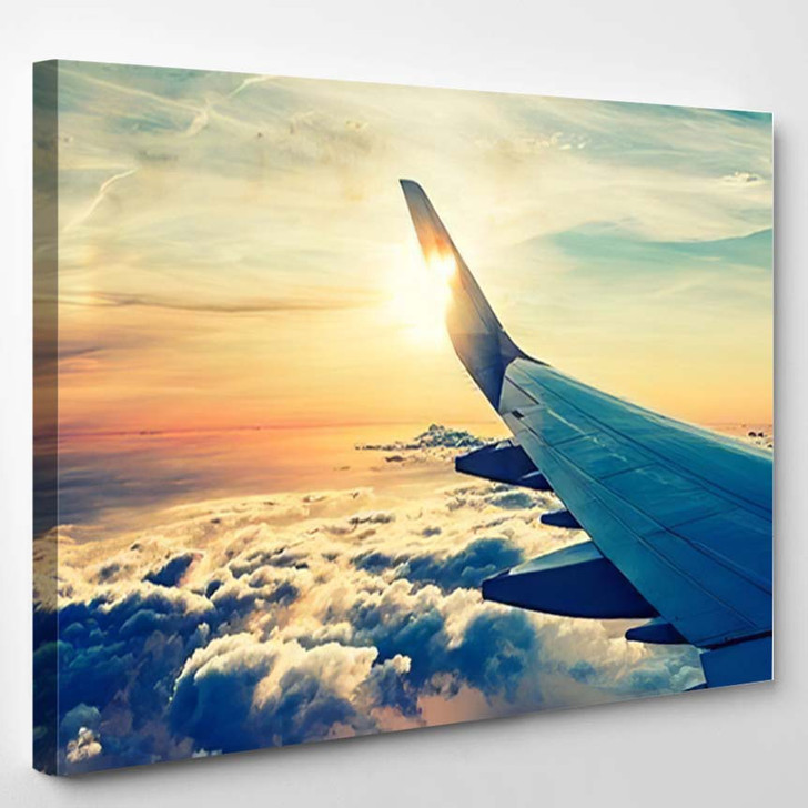 Flying Traveling View Airplane Window On 1 - Airplane Airport Canvas Art Print