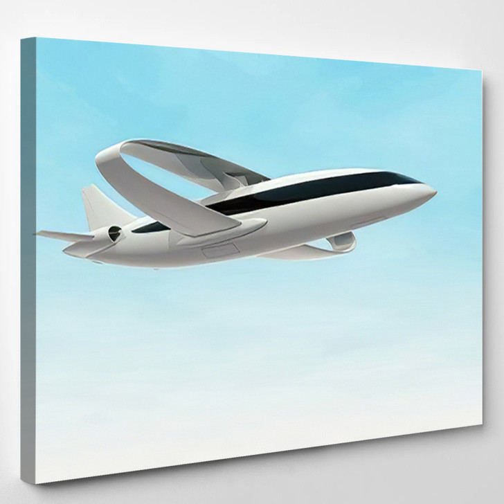 Futuristic Concept Jet Aircraft Ring Wing - Airplane Airport Canvas Art Print