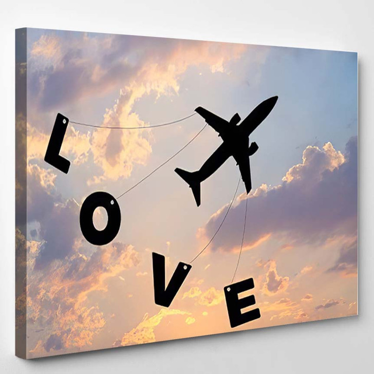 Happy Valentines Day Silhouette Plane Fly - Airplane Airport Canvas Art Print