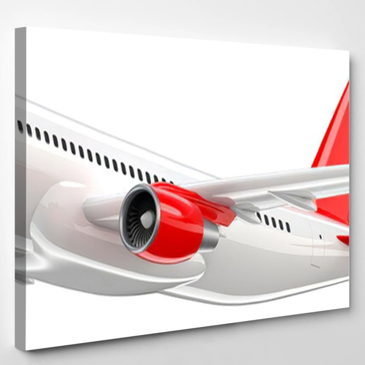 High Detailed White Airliner Red Tail - Airplane Airport Canvas Art Print
