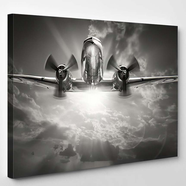 Historical Aircraft Against Sunny Sky - Airplane Airport Canvas Art Print