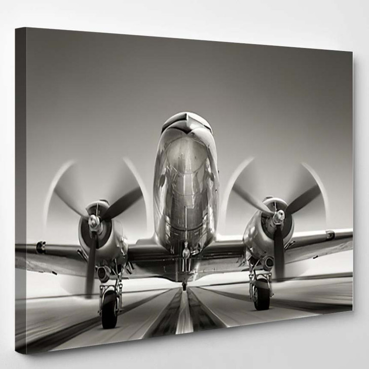 Historical Aircraft While Take Off - Airplane Airport Canvas Art Print