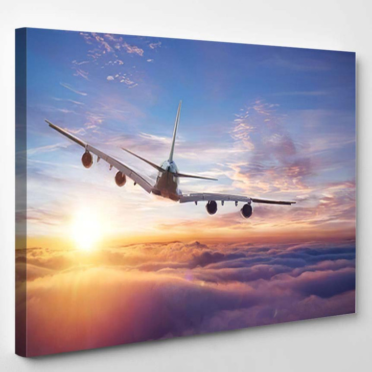 Huge Twostorey Passengers Commercial Airplane Flying - Airplane Airport Canvas Art Print