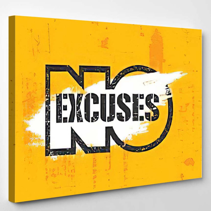 No Excuses Fitness Gym Muscle Workout - Quotes Canvas Art Print