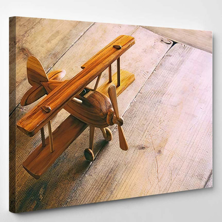 Image Vintage Old Toy Airplane Over - Airplane Airport Canvas Art Print