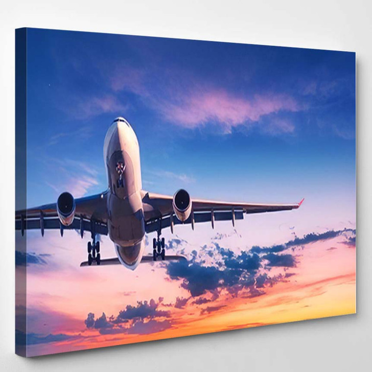 Landing Airplane Against Colorful Sky Sunset - Airplane Airport Canvas Art Print