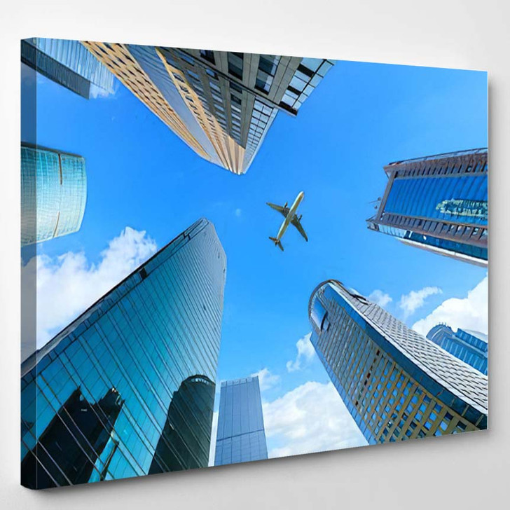 Low Angle View Skyscrapers Shanghaichina - Airplane Airport Canvas Art Print