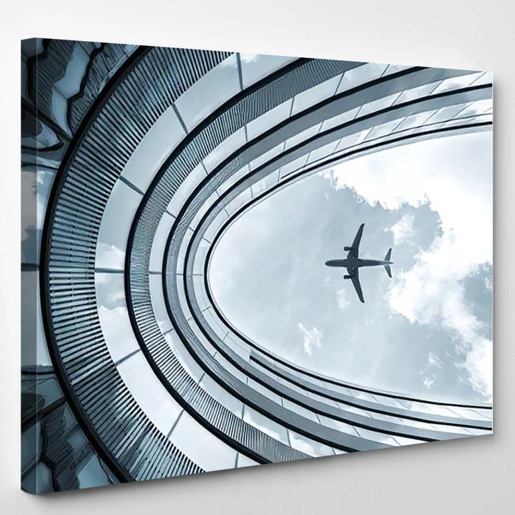 Low View Blue Colorized Picture Modern - Airplane Airport Canvas Art Print
