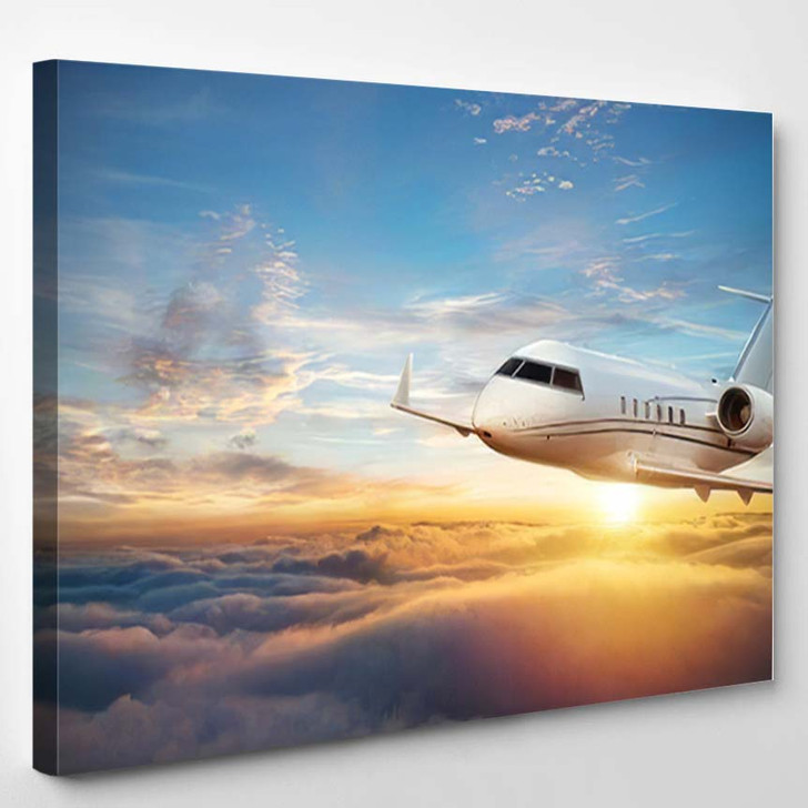 Luxury Private Jetliner Flying Above Clouds - Airplane Airport Canvas Art Print