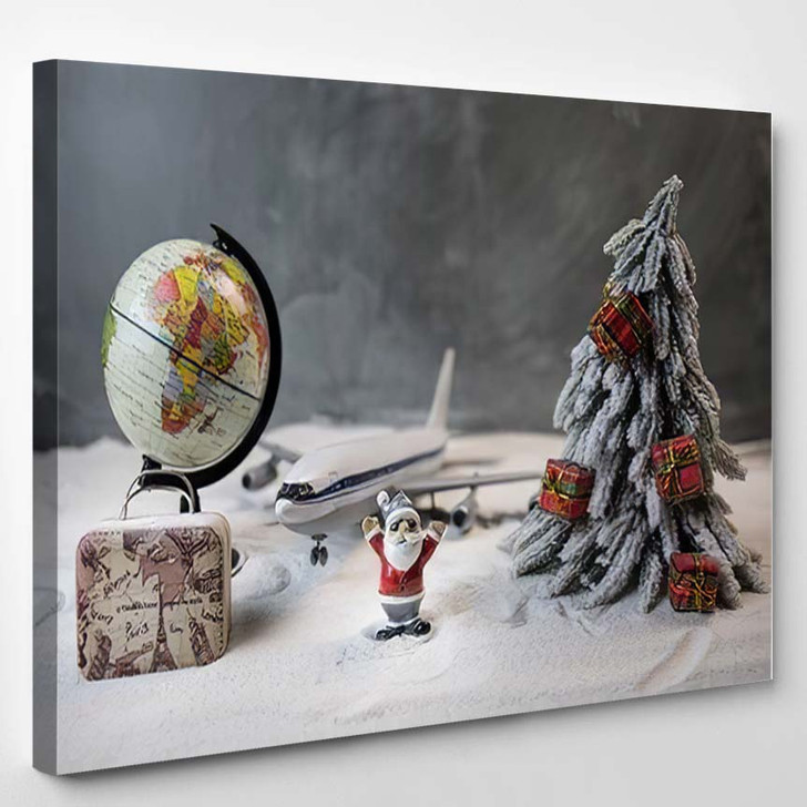 Merry Christmas Happy New Years Travel - Airplane Airport Canvas Art Print