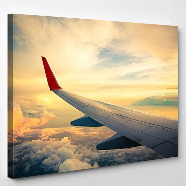 Morning Sunrise Wing Airplane Photo Applied - Airplane Airport Canvas Art Print