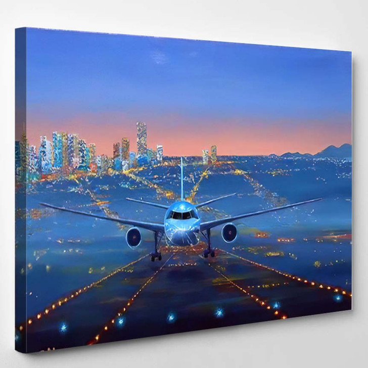 Oil Painting Airplane Night On Runway - Airplane Airport Canvas Art Print