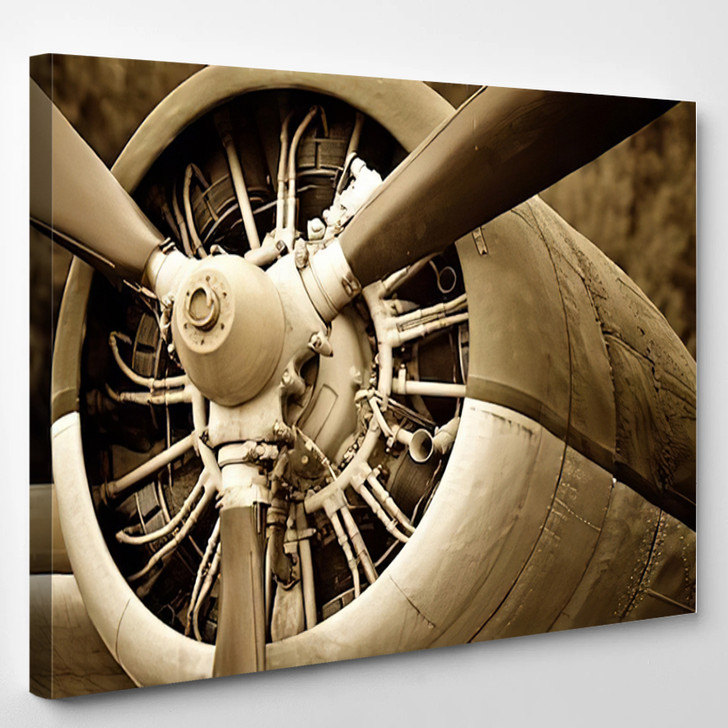 Old Aircraft Engine Close - Airplane Airport Canvas Art Print
