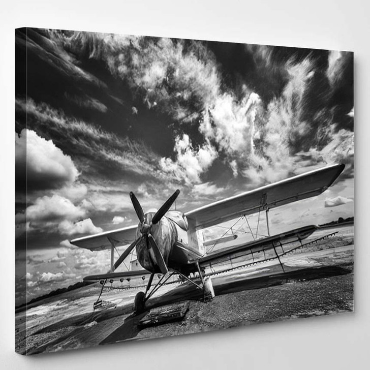 Old Airplane On Field Black White - Airplane Airport Canvas Art Print